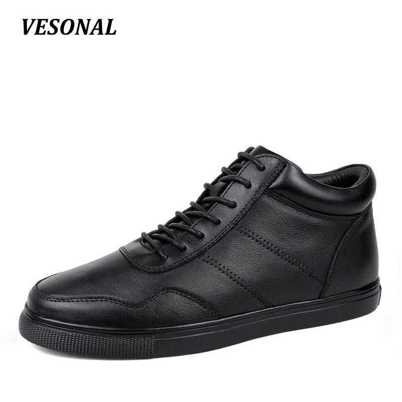 VESONAL Brand Winter Warm Velvet High Top men casual shoes Luxury Genuine Leather Male Footwear Fashion Designer Mens SD3599 top brand high quality genuine leather casual men shoes cow suede comfortable loafers soft breathable shoes men flats warm