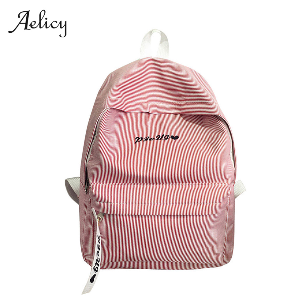 Aelicy Women Backpack For Teenager Girls Casual Rucksack Striped Canvas Backpack Female School Laptop Bags Mochila Rugzak 0918 men backpack student school bag for teenager boys large capacity trip backpacks laptop backpack for 15 inches mochila masculina
