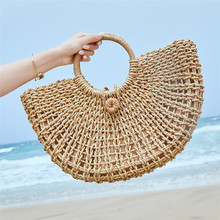 New Straw Bag Paper Rope Round Bucket Hollow Woven Retro Casual Belt Buckle Hand Special Shape Beach Handbag