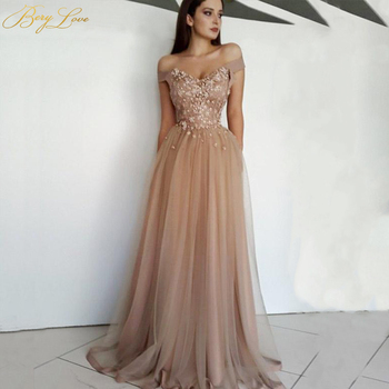 BeryLove Corset Long Elegant Evening Dress Side Sleeves Evening Gown Formal Party Dress Prom Special Occasion Glitter Dress 2019