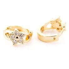 Серьги-кольца золотого цвета с цветком из циркона для маленьких девочек, милые серьги с кристаллами и петлей для растений, ювелирные изделия