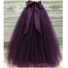 Пышные темно-фиолетовые длинные тюлевые юбки для женщин с поясом из шифона, пышная юбка-пачка для взрослых, Saias, на заказ, новые эластичные