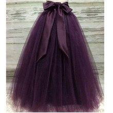 d84d57feb8 Puffy ciemny fioletowy długi Tulle spódnice dla kobiet z Riffon Sash Puffy  Tutu spódnica kobiet dorosłych