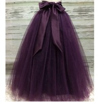 Puffy Dark Purple Long Tulle Skirts For Women With Riffon Sash Puffy Tutu Skirt Female Adult Saias Custom Made New Elastic