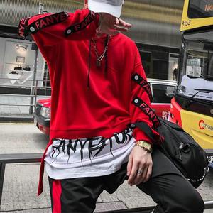 Image 5 - Новые поступления 2020 года, модные мужские толстовки, уличная одежда с боковыми лентами, пуловер с капюшоном, Прямая поставка, abz266