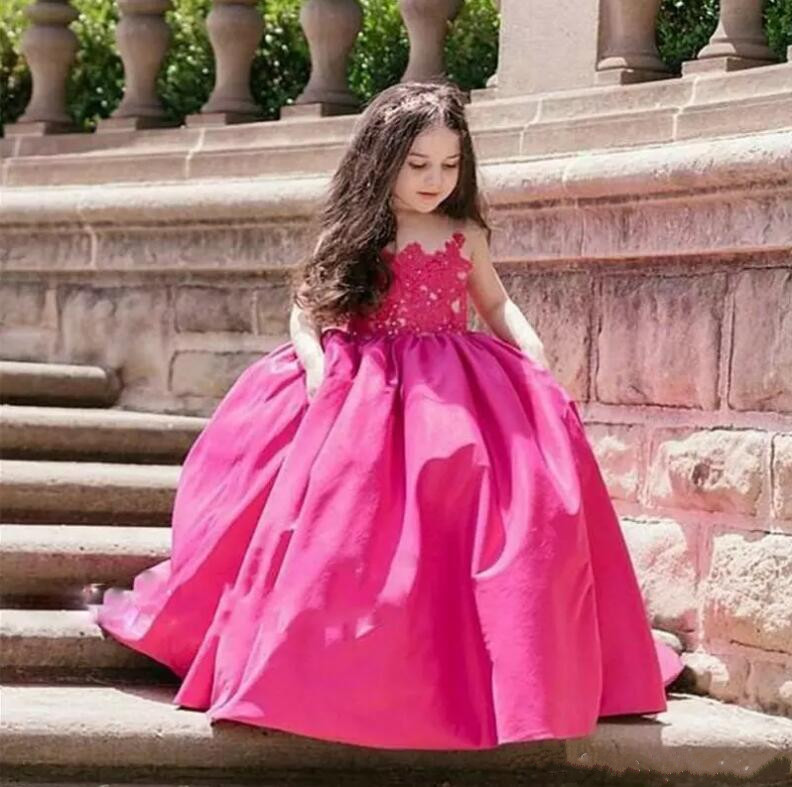 Adorable Fuchsia Kids Flower Girls Dresses 2018 Long Sheer Jewel Neckline Lace Satin Ball Gown Custom Any Size недорго, оригинальная цена