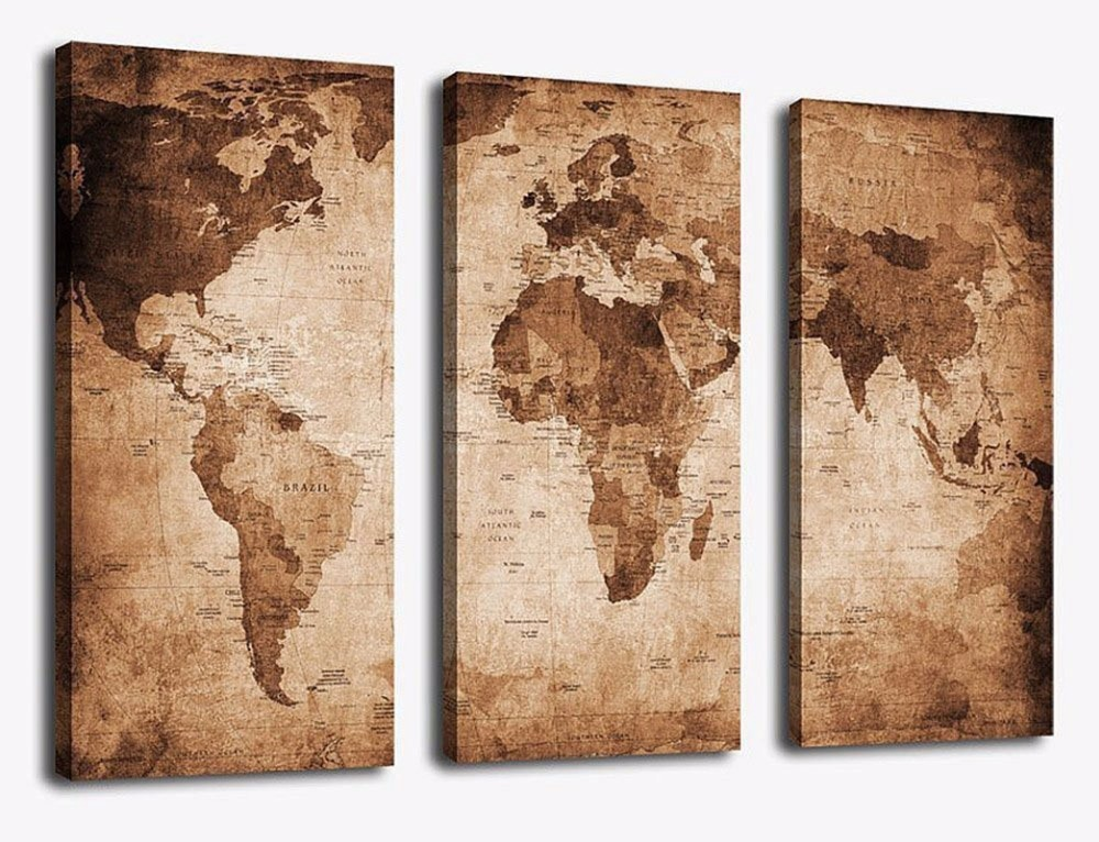 Canvas wall art print vintage world map painting 3 piece for 3 by 3 prints