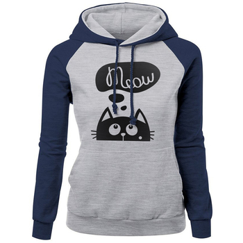 2018 Autumn Winter New Hoodies For Women Sweatshirt Kawaii CAT MEOW Print Fashion Hoody Kpop Sweatshirts Raglan Harajuku Hoodie 1