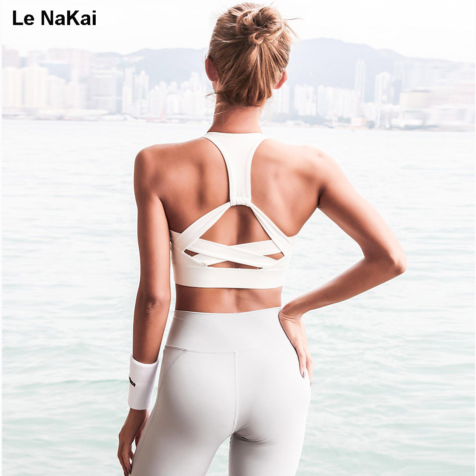 Le NaKai High Support Strap Sports Bra Cross Back Padded
