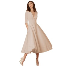 2019 Elegant Evening Party Gown Dress for Women Sexy V Neck Half Sleeves High Waist Pocket Dress Pleated Swing Midi Dress Women цены