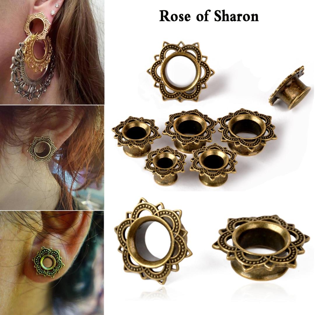 Fashion Flesh Tunnels Flower Ear Plugs Rhinestone Ear Plug for Women Girls