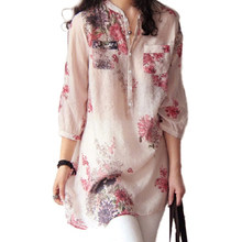 Vintage Women Floral Print Blouse Cotton Linen Shirt Casual Loose Tops Female Long Shirt Blusas Tunic Chinese Style(China)