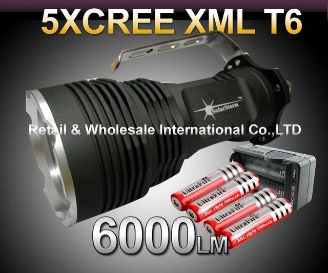 35W 6000 Lumens CREE XML XM-L 5x T6 LED Flashlight Torch USE 4x 18650 Lamp light+4*18650 battery+travel charger
