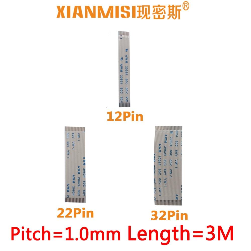 FFC/Гибкие печатные платы плоский гибкий удлинитель 12pin 22pin 32pin же сбоку 1.0 мм Шаг awm vw-1 20624 20798 80c 60 В Длина 3 метра 5 шт.