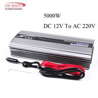 New TBE 5000W DC 12V TO AC 220V Metal Car Power Inverter Car Adapter Modified Sine Wave Two Sockets Free shipping