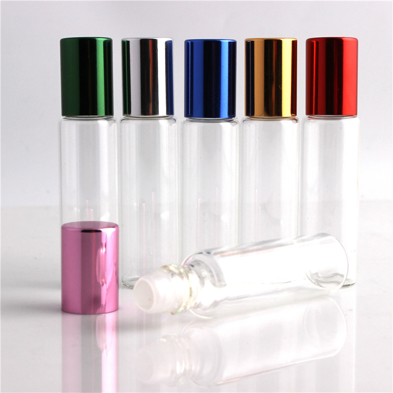 10pcs / lot 10ml glass perfume bottle wholesale refillable rolls on the bottle of essential oil glass vials with bowls 10pcs lot 5ml perfume spray bottle glass vials glass spray bottle empty essential oil bottle