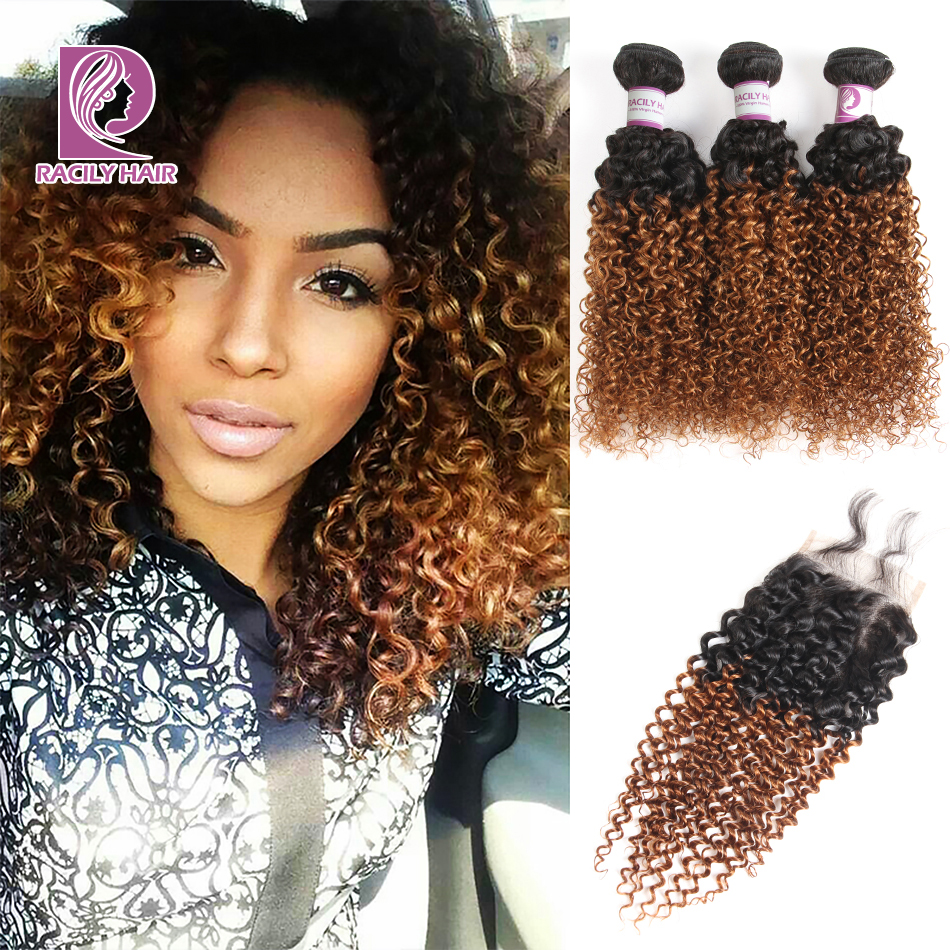 Racily Hair Ombre Brazilian Kinky Curly Bundles With Closure Remy Human Hair 3 4 Bundles With