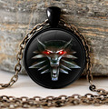 The Witcher 3 glass cabochon Necklace Pendant  the wild hunt 3 figure game wolf amulet Sweater Chain Gift