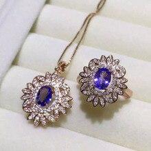 Natural blue tanzanite gem jewelry sets natural gemstone Pendant ring 925 silver luxurious snowflake Flower women fine jewelry