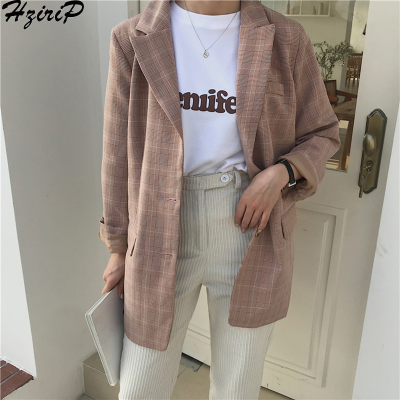 HziriP 2019 Women Blazers Single Breasted Retro Spring Autumn Long Sleeve Uniform Style Work Wear Ladies Office Outwear Blazer