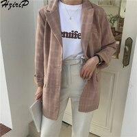 HziriP 2019 Women Blazers Single Breasted Retro Spring Autumn Long Sleeve Uniform Style Work Wear Ladies Office Outwear Blazer