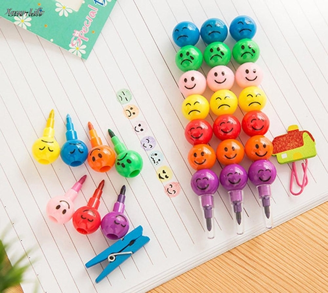 ISHOWTIENDA 1PC 12cm New 7 Colors Cute Stacker Swap Smile Face Crayons Children Drawing Gift Children Wax Caryon School Pen