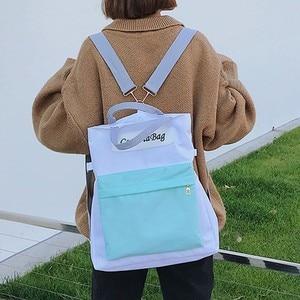 سستة حقيبة قماش قنب سستة خليط التباين اللون متعددة الأغراض مربع حقيبة كتف ظهره Mochila اجتماعيون Adolescente #