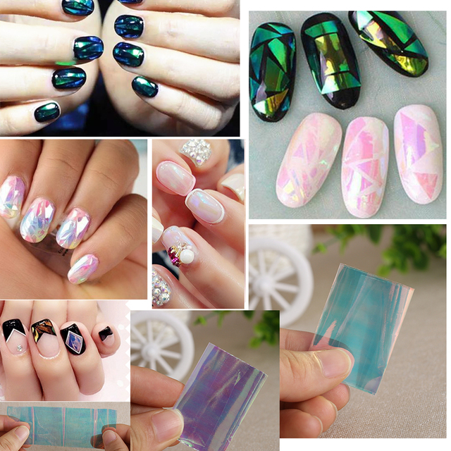 5 Different Colors/set Broken Glass Pieces Mirror Foil for Nails