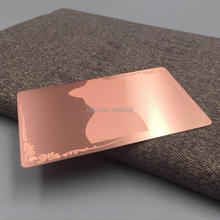 Rose gold metal business card with custom company logo