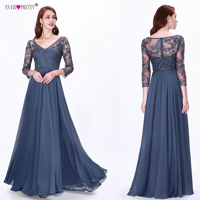 Ever Pretty Prom Dresses Long 2019 Lace Appliques A-line Chiffon Elegant Long Sleeve Winter Autumn Prom Gowns for Wedding Party