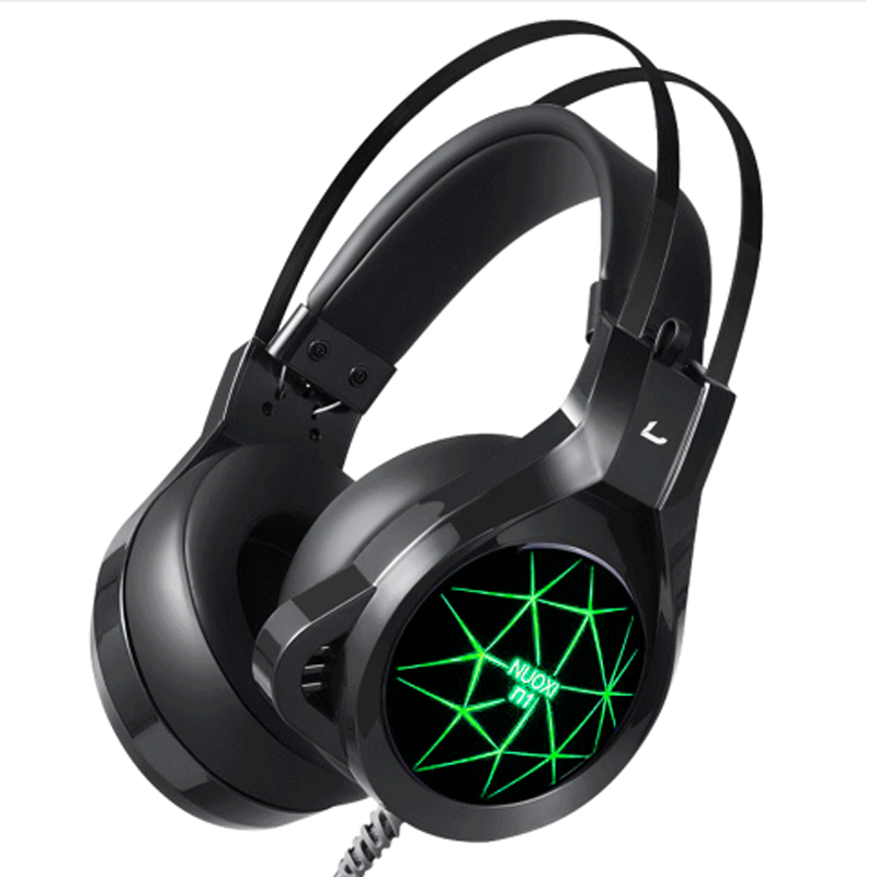 JINSERTA Gaming headset with mic for PC headphones Luminous 7 color Durable headset Big ear Cap comfortable stereo 50mm driver