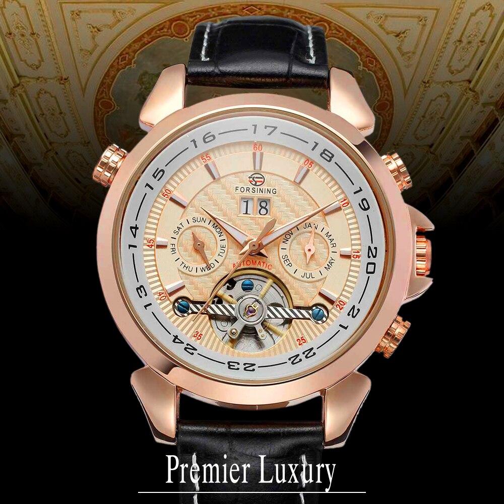 все цены на Forsining Men's Watch Automatic Self-Wind Black Genuine Leather Strap Classic Wristwatch FS057M3R4 With Gift Box онлайн