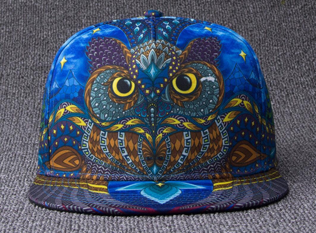 5pcs/lot Cool Owl Print Flat Bill Snapback Hats for Men Spring Autumn Flat Brimmed Caps Women Baseball Cap Snapbacks Wholesale female caps for autumn