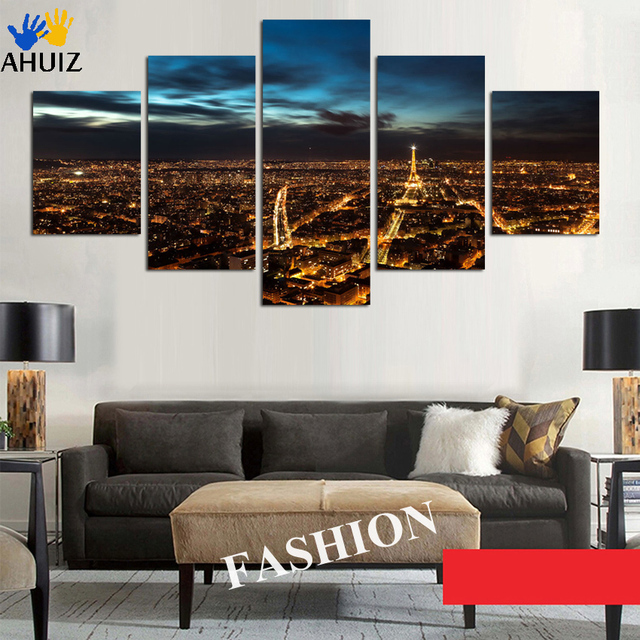 Big Size For Living Room Bedroom Wall Decor Home Night Paris Eiffel Tower Cityscape Canvas