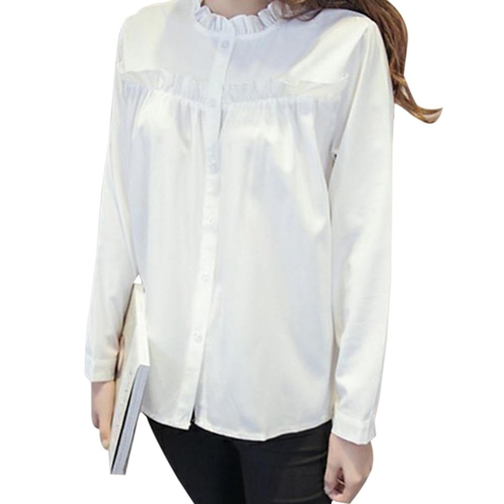 Korean Fungus Collar Lace White Shirt Women Long Sleeve Female