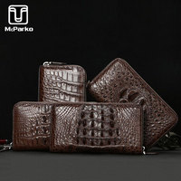 McParko Real Crocodile Clutch Wallet Genuine leather Wallet Men Luxury alligator Purse Zipper Clutches Bag For Male BLACK BROWN