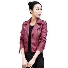 2019 New Fashion Women Leather Motorcycle Zipper collar Punk Coat Biker Jacket Lady Cool Outwear Hot(China)