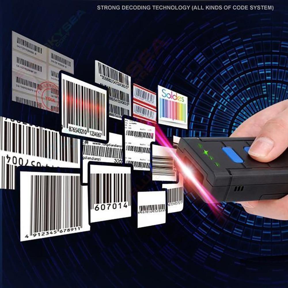 1D Drahtlosen Barcode Laser-barcode-scanner Mini Tasche HID Virtuelle Tastatur 1D Bluetooth 2,4G Barcode Scanner Drahtlose