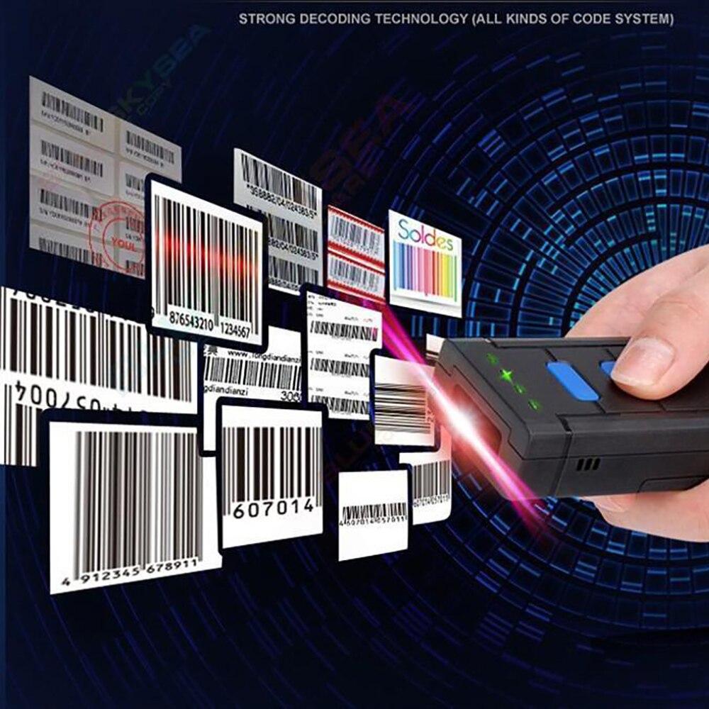 1D Беспроводной лазерный сканер штрих-кода сканер штрих-Мини-карман HID виртуальная клавиатура 1d bluetooth 2.4 г сканера штриховых кодов Беспроводн...
