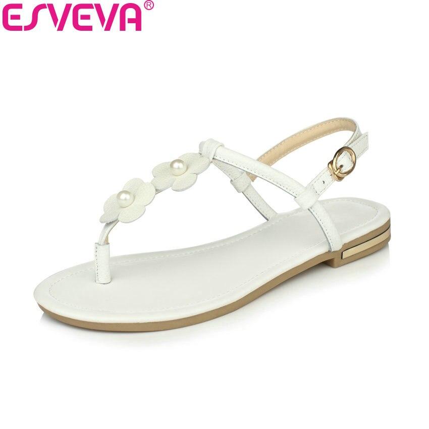 ESVEVA 2018 Women Sandals Flower Cow Leather Gold PU Shoes Slingback Comfortable Low Heel Summer Women Sandals Shoes Size 34-43 посудомоечная машина bosch sks 62e88 sks62e88ru