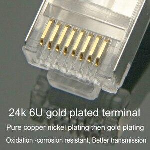 Image 4 - Xintylink rj45 conector cat6 cat 6 plug 8p8c stp rg rj 45 lan blindado ouro chapeado rede ethernet cabo jack 1.2mm grande furo