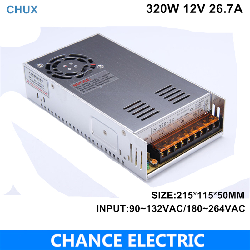 320W Switching Power Supply  single output 12V 26.7a ac/dc input for cnc led light Direct Selling 301 - 400W (S-320W-12V)320W Switching Power Supply  single output 12V 26.7a ac/dc input for cnc led light Direct Selling 301 - 400W (S-320W-12V)