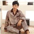 Pijamas de Seda De luxo Conjunto de Primavera E Outono Dos Homens De Cetim De Seda Pijamas de Manga Longa Sleepwear Plus Size 3XL