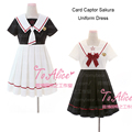 Anime CardCaptor Sakura Adapted School Uniform JK Dress Sailor Collar KERO Embroidery Back Tie Cute Lolita Dress Preppy Style