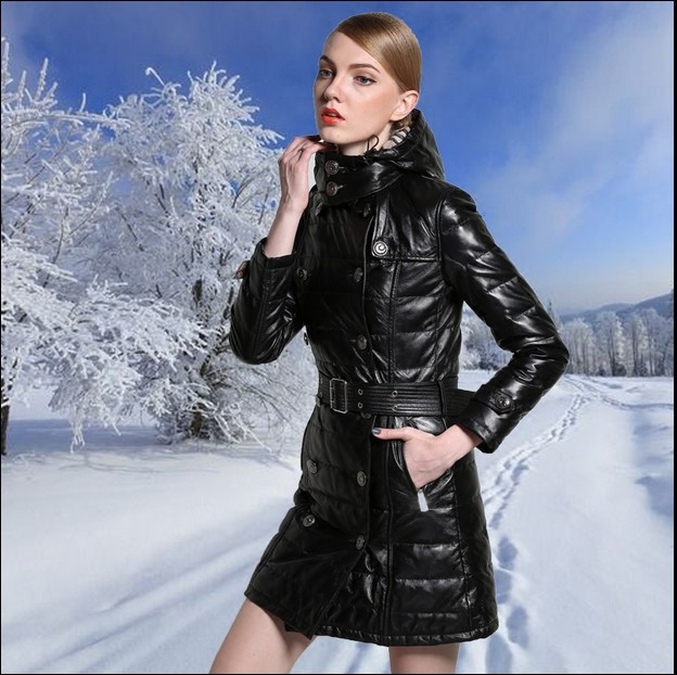 Free shipping,womens winter Genuine sheepskin leather jackets.fashion warm long duck down jacket,woman 2016