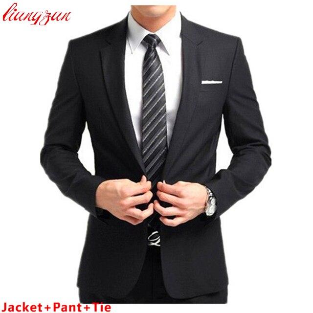 (Куртка + Брюки + Галстук) Мужчины Бизнес Костюм Устанавливает Slim Fit Смокинг Формальный Мода Платье Костюмы Blazer Бренд хлопок Партия Свадебные Костюмы