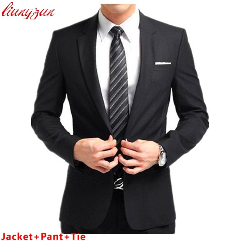 Jacket Pant Tie Men Buisness Suit Sets Slim Fit Tuxedo