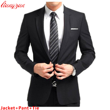(Jacket + Pant + Tie) Establece Slim Fit Esmoquin Moda Formal de Los Hombres Traje de Negocios de los Trajes Del Blazer Marca Partido de algodón Trajes de Boda