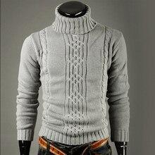 New fashion brand Slim Mens Knit Lapel Long Sleeve Turtleneck Turtleneck Solid Color Regular Sweater for Men Winter High NeckPullovers