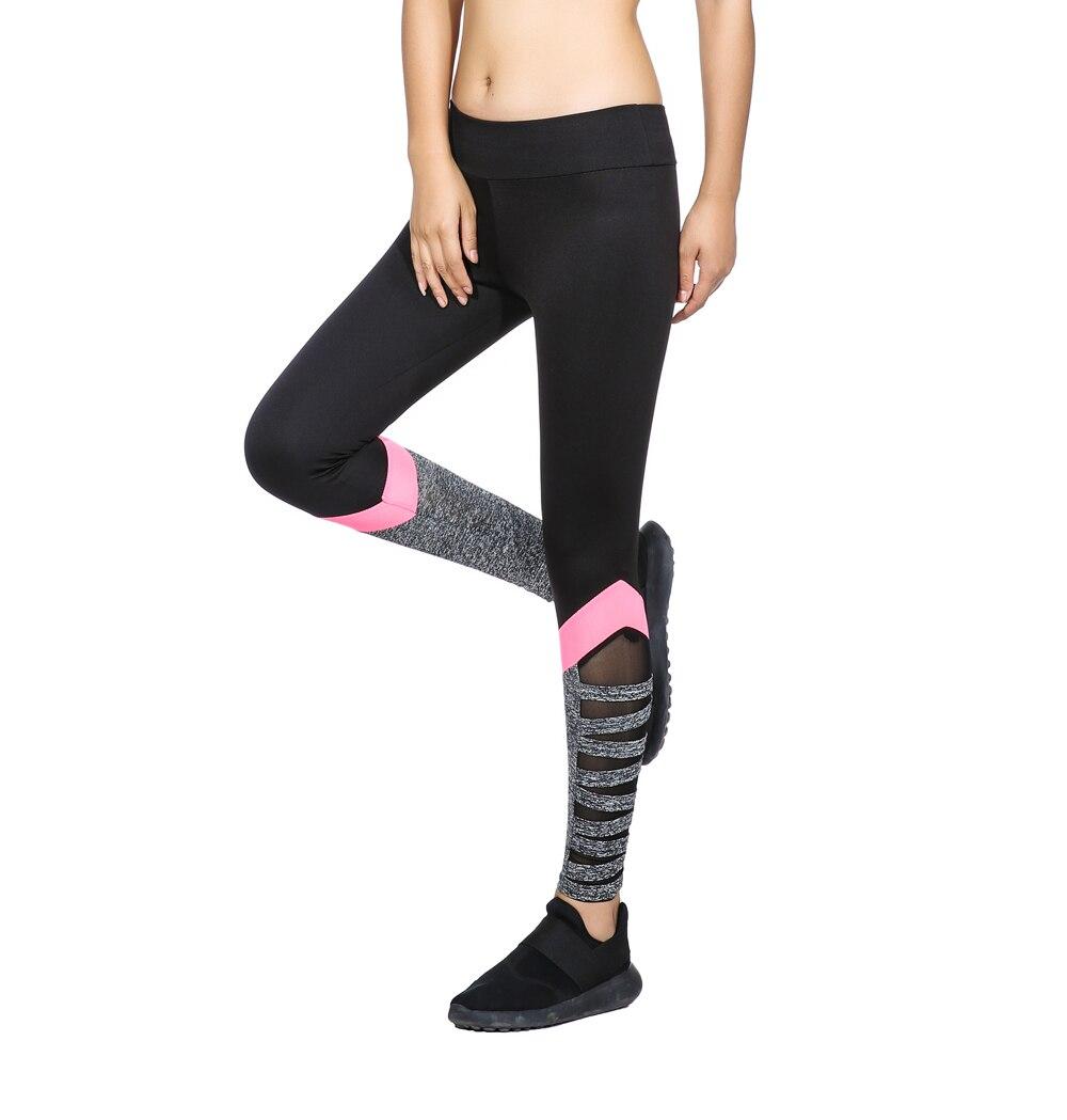 Leggings de corte de cintura alta para mujer Ao Sheng nuevos estilos de Color negro con malla de empalme de Color rosa lateral